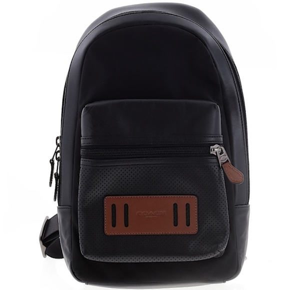 Coach Handbags - COACH Black & Brown Leather Single Strap Backpack